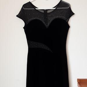 Vintage Aspeed Evening Dress Mesh Studded Black